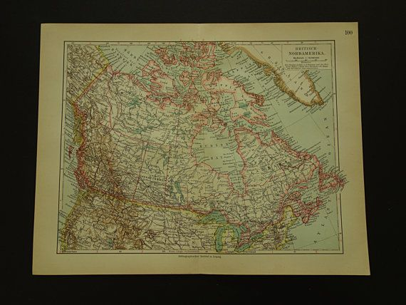 Old map of Canada  original 1913 antique Canada by VintageOldMaps
