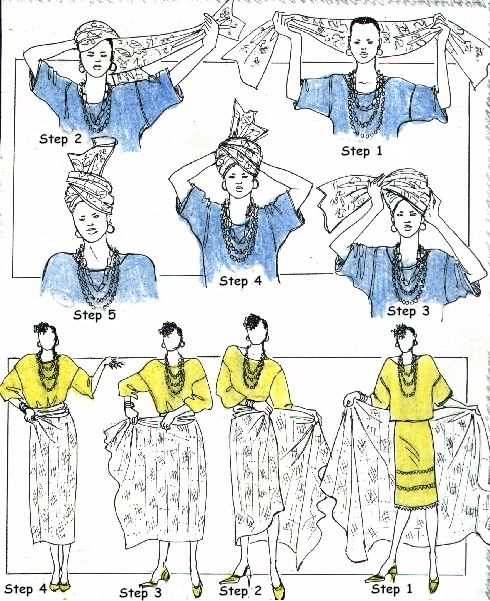 How to tie West African head scarf and sarong / skirt / wrapper