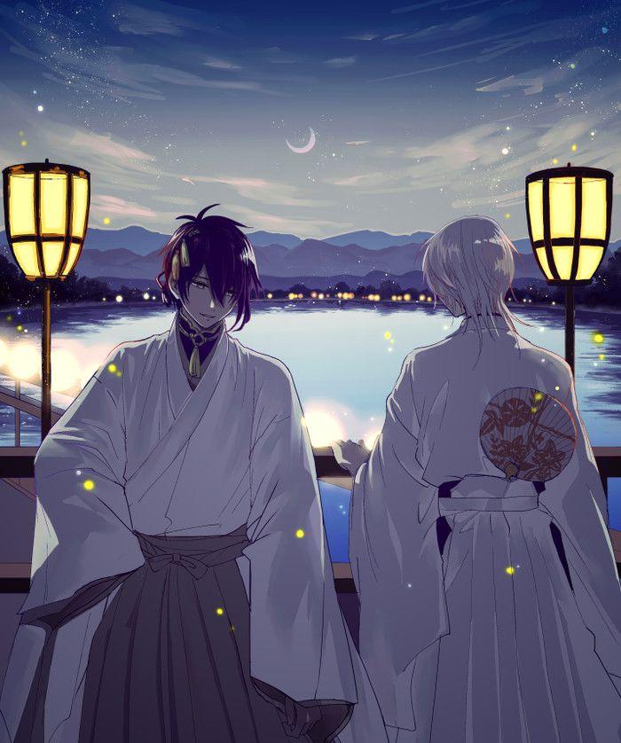 三日月宗近x鹤丸国永 <-- I can't read it but they look like Jumin and Zen with short hair