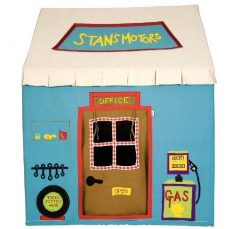 Win Green Garage Playhouse - Large  Price: $440.00 Description:  We all need a friendly mechanic sometimes, so how better to make all your repairs with your very own Win Green Garage playhouse. Appliquéd and embroidered with fuel pump, spare tyre, oil can and spanners you'll have everything you need to fix any problems. Plus on the side, raised up on ramps, is Win Green's beautiful red embroidered car!  100% cotton. Easy to assemble with a light metal frame. Storage bag included.