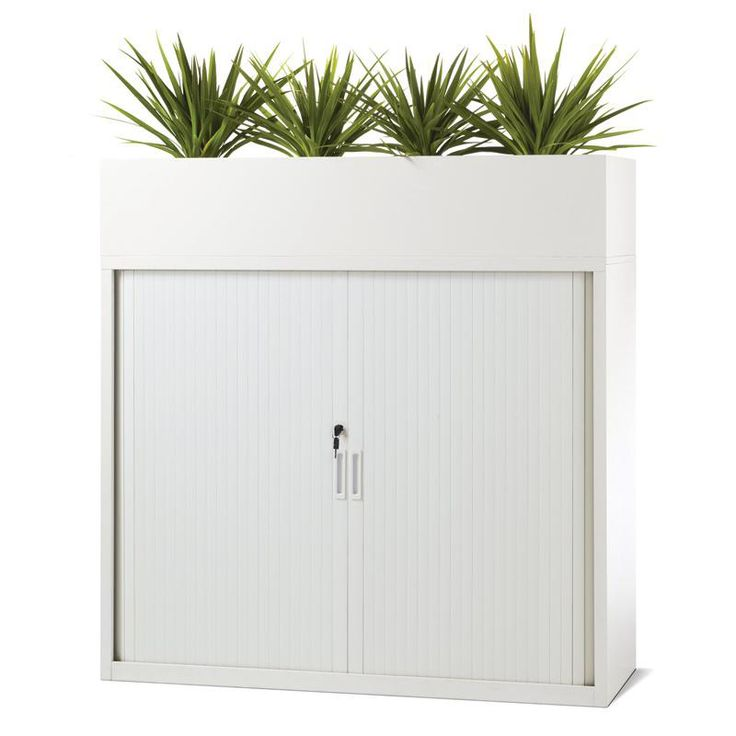 Planter Box storage with a touch of green for office workspace design with white powercoat. 2Store Range. #storage #office