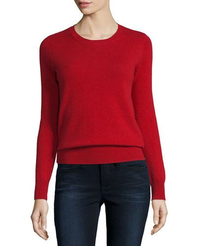 TCDNW Neiman Marcus Cashmere Collection Long-Sleeve Crewneck Cashmere Sweater, Plus Size