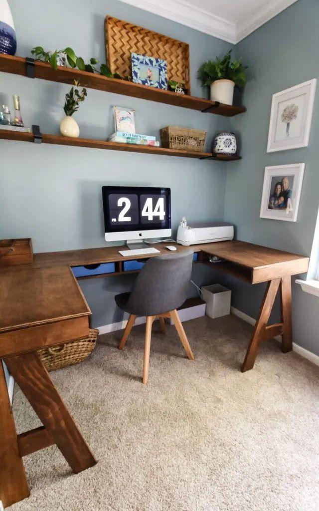 Diy Built In U Shaped Desk In 2020 Homemade Furniture Home Decor Corner Fireplace Furniture Arrangement