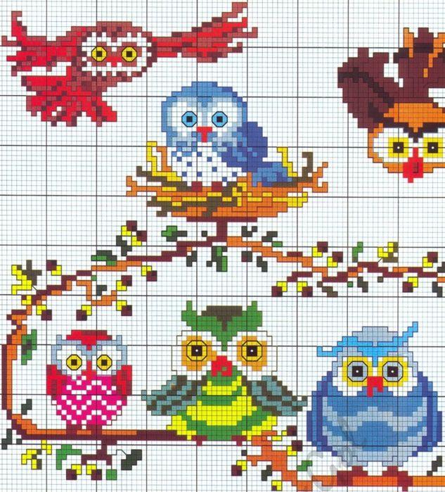 cross stitch owls/birds