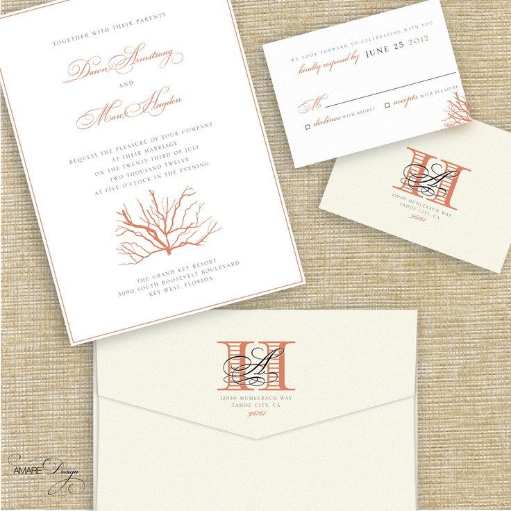 Coral Beach Destination Wedding Invitation Suite by