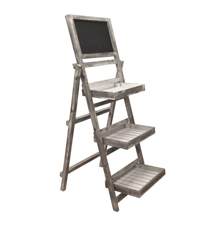 Expositor escalera madera pizarra estilo vintage                                                                                                                                                                                 Mais