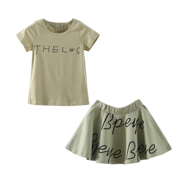 """Mud Kingdom Girls' Letters T-shirts and Cotton Skirts Clothing Sets 6T Green. Adorable. Soft Material. For Summer. Please Read """"Size Specification"""" In """"Product Description"""" To Make Sure The Size You Choose Fits As Expected. Mud Kingdom, A Reliable & Professional Manufacturer of Children's Clothing, Founded by Several Young People in 2012!."""