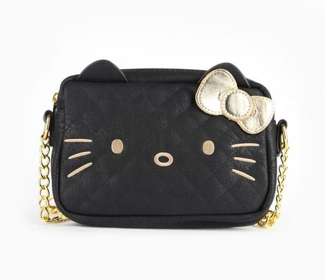 Hello Kitty Crossbody Bag: Gold on Black - Item # 54304-201408 - This cute little shoulder bag will accompany you to dinner or out with the girls. Hello Kitty's eyes, nose and whiskers are embroidered in goldtone thread on a black quilted background of faux leather. Gold bow, 3D ears and goldtone hardware complete the look. Keep an eye out for the matching wallet! - Loungefly for Hello Kitt - $48.00