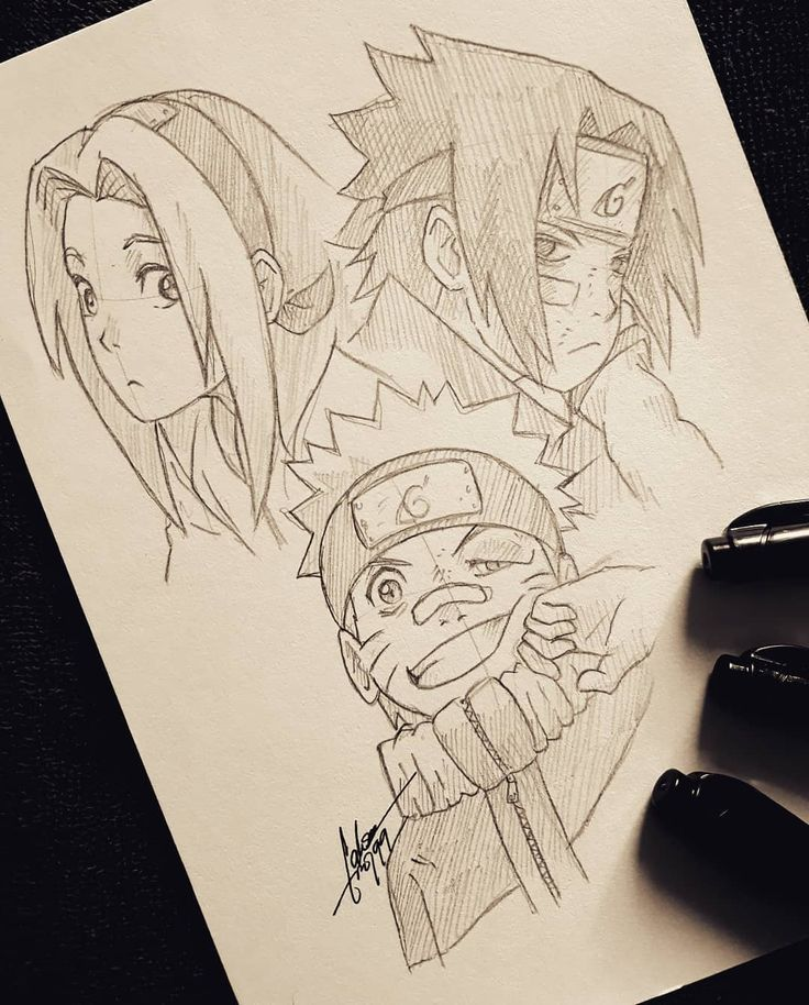 Sketch Of Team 7 Uzumaki Naruto Haruno Sakura
