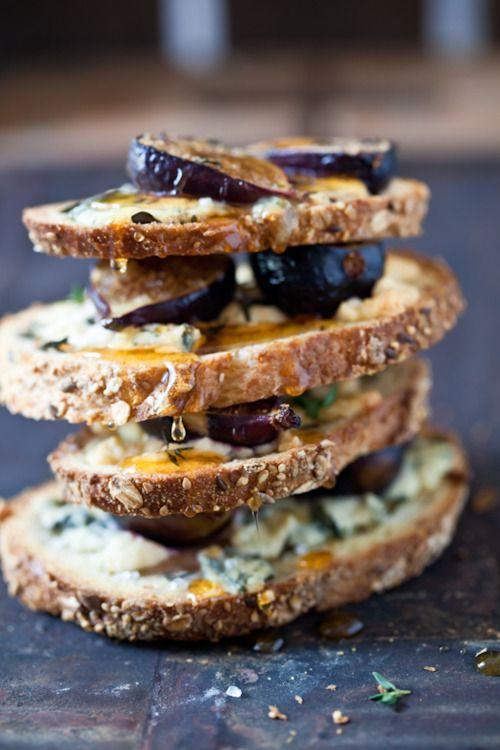 Fig, Gorgonzola and Honey Tartines: Blue Cheese, Tasti Recipes, Honey Tartin, Figs Gorgonzola, Whole Food, Snacks, Appetizers, Figs Recipes, Pretzels