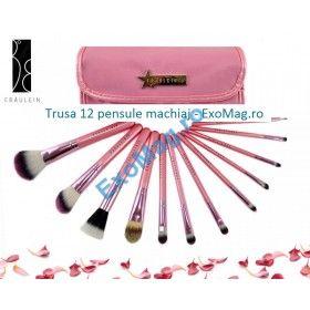 Trusa 12 pensule machiaj - http://exomag.ro/pensule-machiaj-profesionale-makeup/trusa-12-pensule-machiaj-profesionale-fraulein38-pink-candy.html