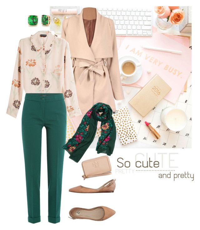 """Apricot & Green @ Work"" by curvygirlamy ❤ liked on Polyvore featuring Elisabetta Franchi, Tory Burch, Rochas, Etro, WithChic and Kate Spade"