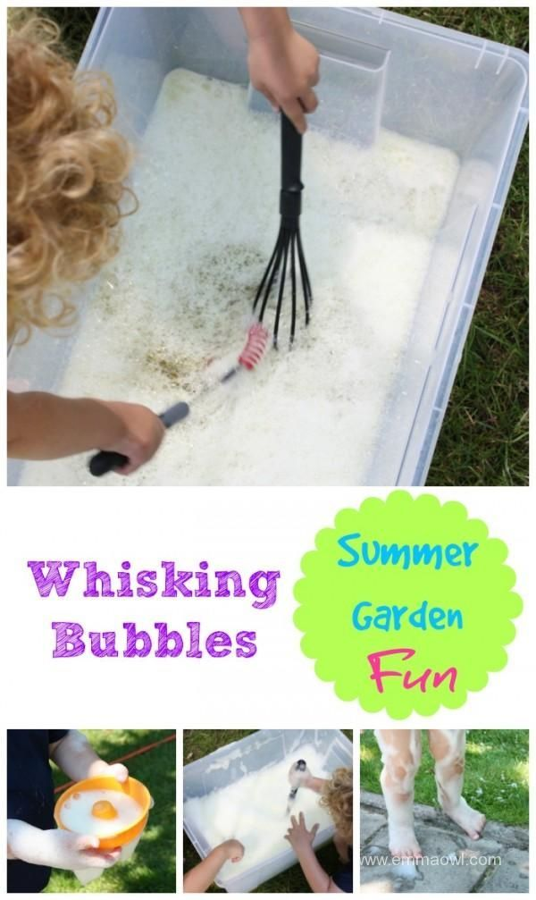 Summer Time Fun - whisking bubbles in the garden - this is a great activity for…