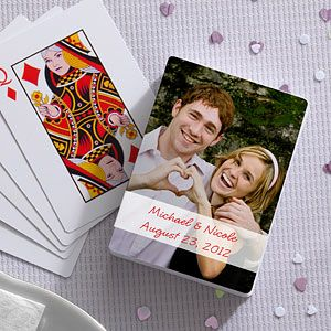 Personalize playing cards for a favor!    I wish they weren't so expensive.