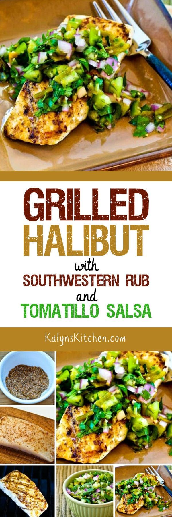 Grilled Halibut with Southwestern Rub and Tomatillo Salsa