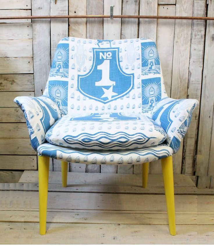 Restored and Reupholstered retro chair in South African Fabric - Number One