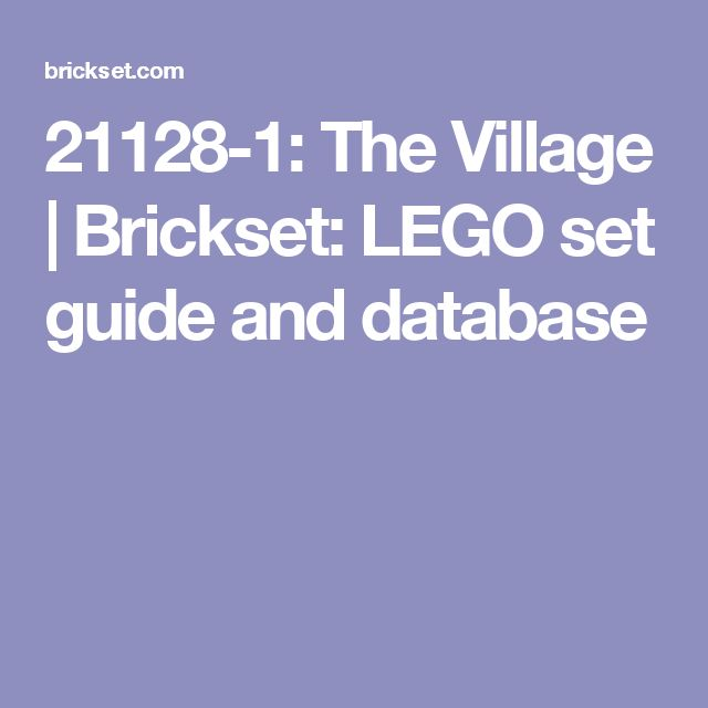 21128-1: The Village | Brickset: LEGO set guide and database