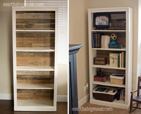 Pallet Backed Bookshelf. Take an inexpensive bookshelf then replace the back with worn pallet planks. This looks like something you'd find at Pottery Barn!