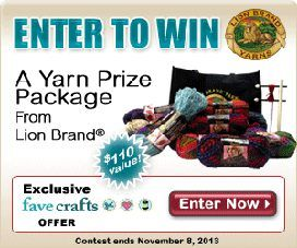 Enter to win a crafty prize package from Lion Brand Yarn! This giveaway is a crafter's dream come true!