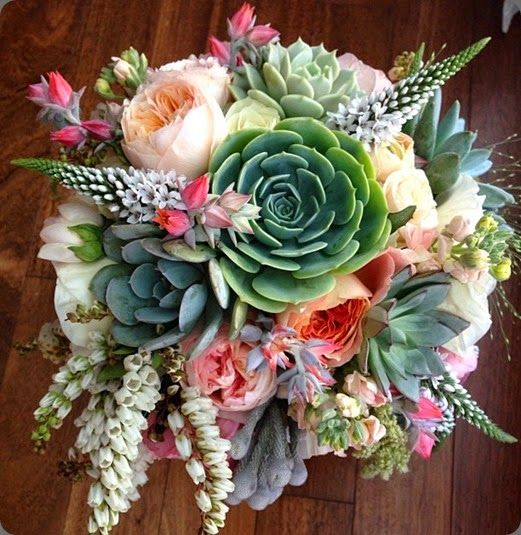 Love the use of succulents... Cheaper alternative filler in bouquet...♥♥