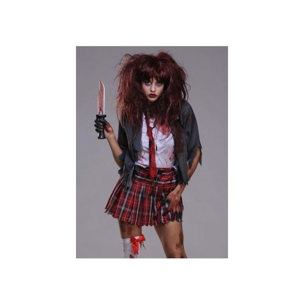 Zombie Schoolgirl Halloween Costume ($44) ❤ liked on Polyvore featuring costumes, costume, halloween costume, womens school girl costume, adult women costumes, womens zombie costume, adult zombie costume and adult costume