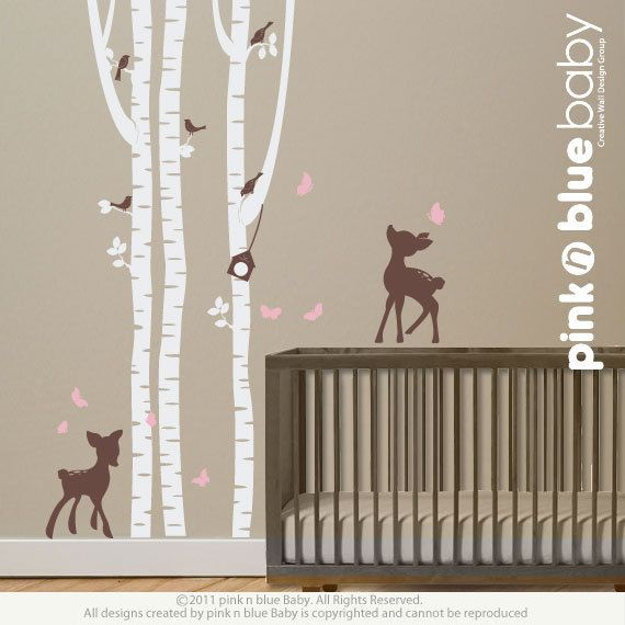 Wall Decals Birch Trees with fawns Nursery Wall by pinknbluebaby