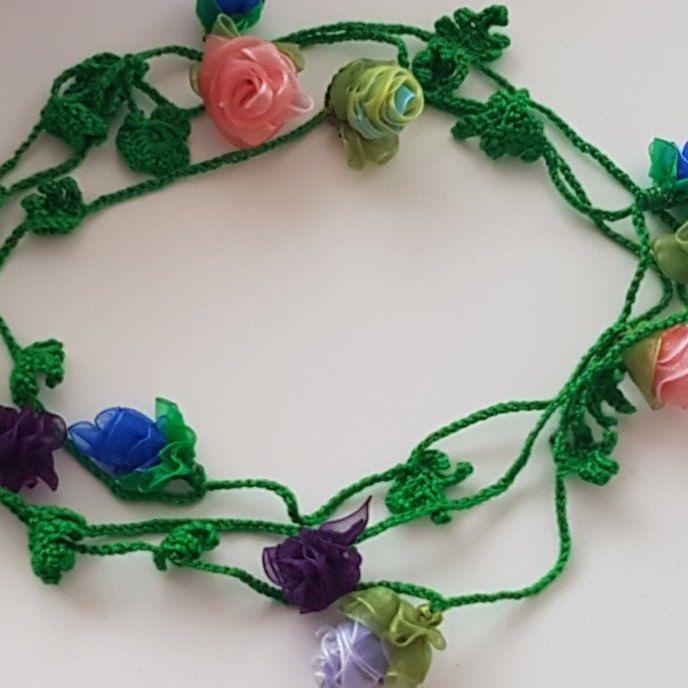 Kant gehaakt lint organze rosen necklace groen blauw zalm lila paars kleur
