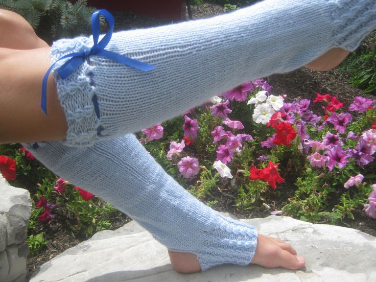 Dancer's Heelless Legwarmers Jazz Tap Ballet Size Ladies Adult Dance Gift Baby Blue Acrylic by KnitIdea on Etsy
