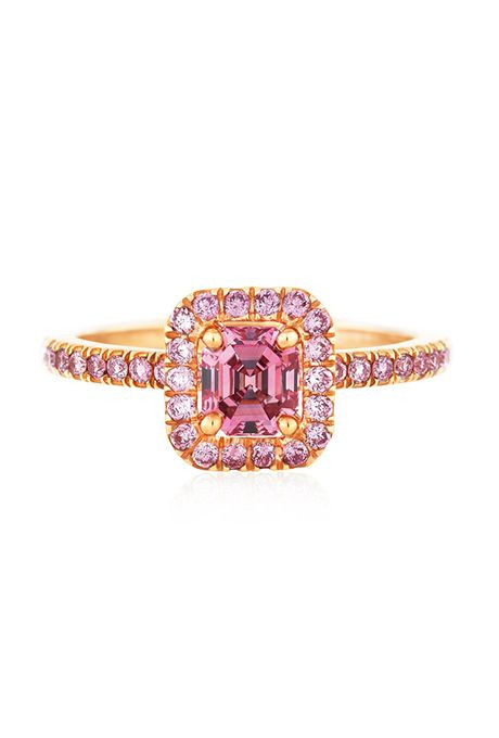 "Brides.com: . ""Aura"" pink micropavé solitaire ring featuring a pink radiant-cut diamond, price upon request, DeBeers"