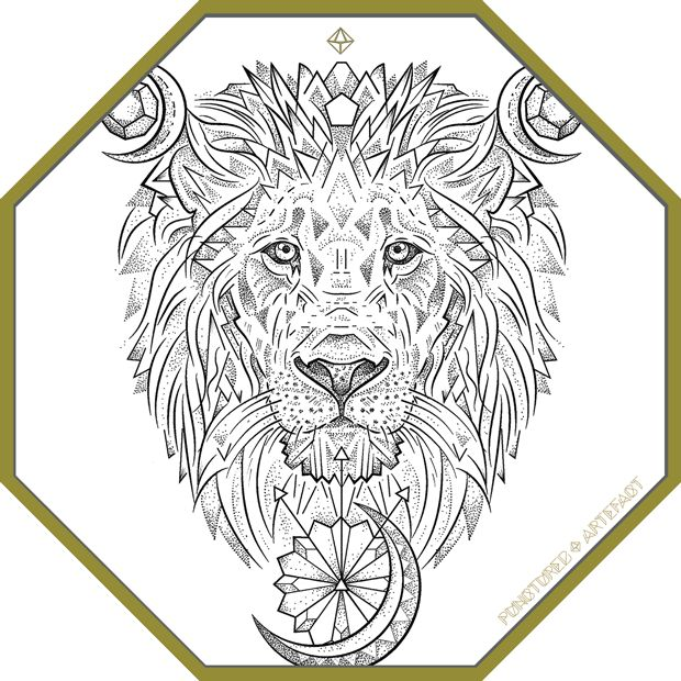 CUSTOM INK. CELESTIAL LION Custom Tattoo Design. Height 22 cm. This design is inspired by the family name of Dillion, often depicted as a lion & crescent moons on heraldic plates. It features …