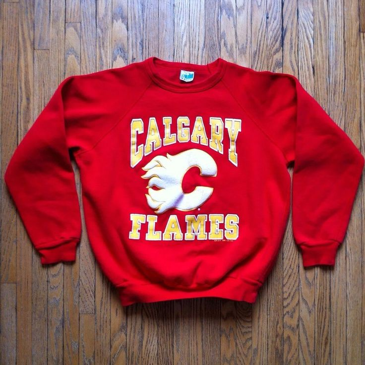 vintage 1988 calgary flames sweatshirt youth medium red #80s original logo hockey from $24.0