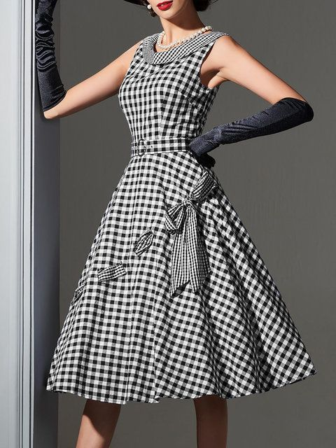 5fc24d6e804 Buy Midi Dress For Women from A-THENA at Stylewe. Online Shopping Stylewe  Plus Size Midi Dress A-line Date Dress Sleeveless Holiday Bow Gingham Dress