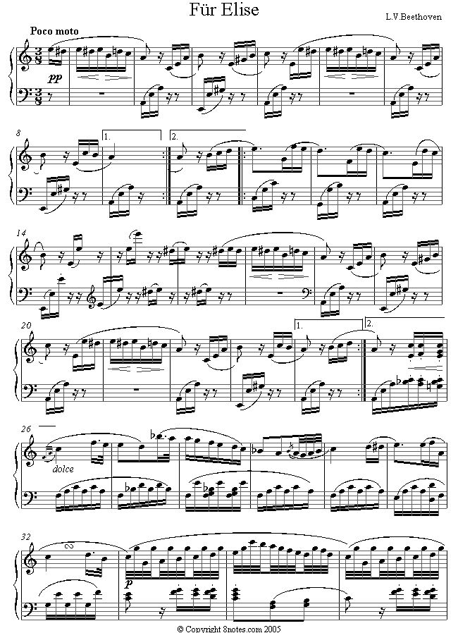 Beethoven - Fur Elise (original) sheet music for Piano