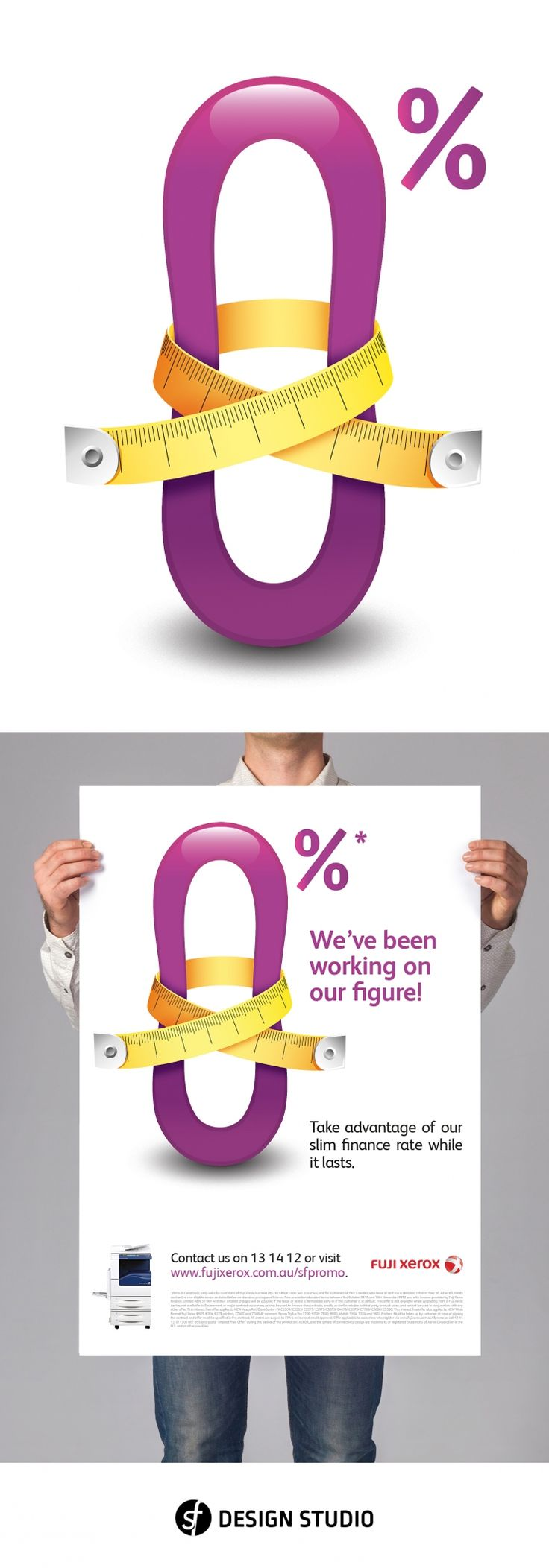 """Illustration of the Xerox 0% Finance campaign hero image for the Desiel agency. Desiel provided a clear brief for SF Design Studio to execute. Show the 0% figure tightening it's waist line with a measuring tape. This was to support the main copy line for the campaign, """"We've been working on our figure!"""". - created via https://pinthemall.net"""