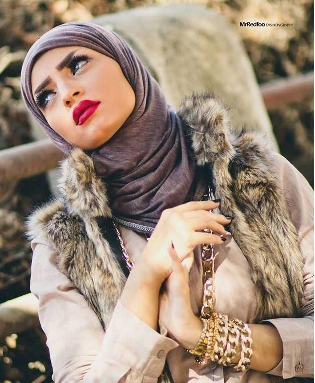 fur vest , hijab look