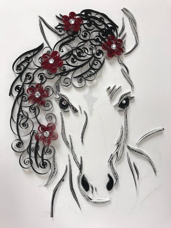 Paper Quilling Horse And Flowers Framed Art 11x14 Etsy Paper Quilling Designs Paper Quilling For Beginners Quilling Designs