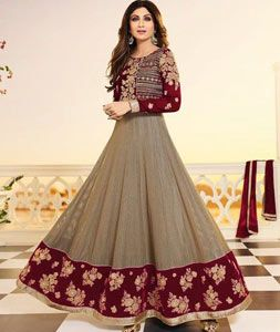 Buy Shilpa Shetty Red Shimmer Jacquard Ankle Length Anarkali Suit 71587 online at lowest price from huge collection of salwar kameez at Indianclothstore.com.