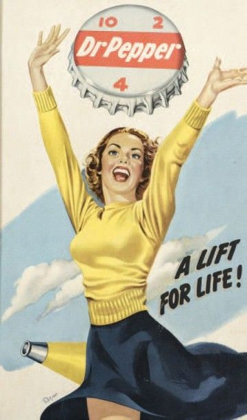 DR. PEPPER A LIFT POR LIFE! Circa 1940 Affiche U.S. encadrée 35x59cm