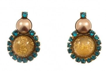 Handmade bronze metal plated earrings with Swarovski strasses, pearls and glass stone, by Art Wear Dimitriadis