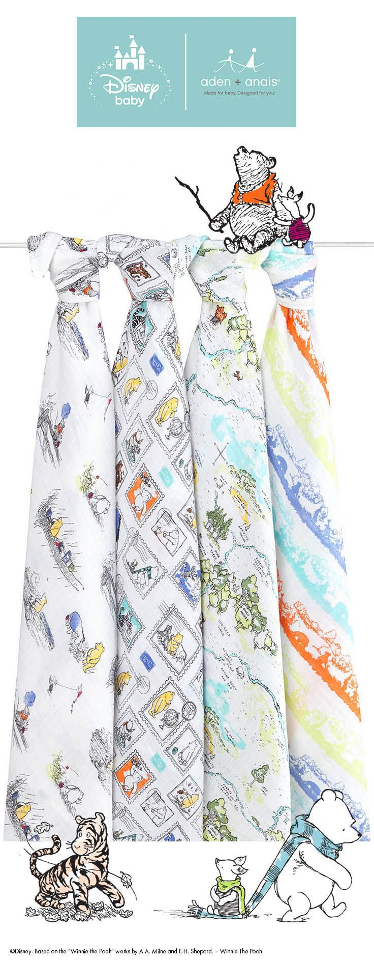 The cotton muslin swaddle that started it all pairs perfectly with these whimsical Disney Baby Winnie the Pooh prints.