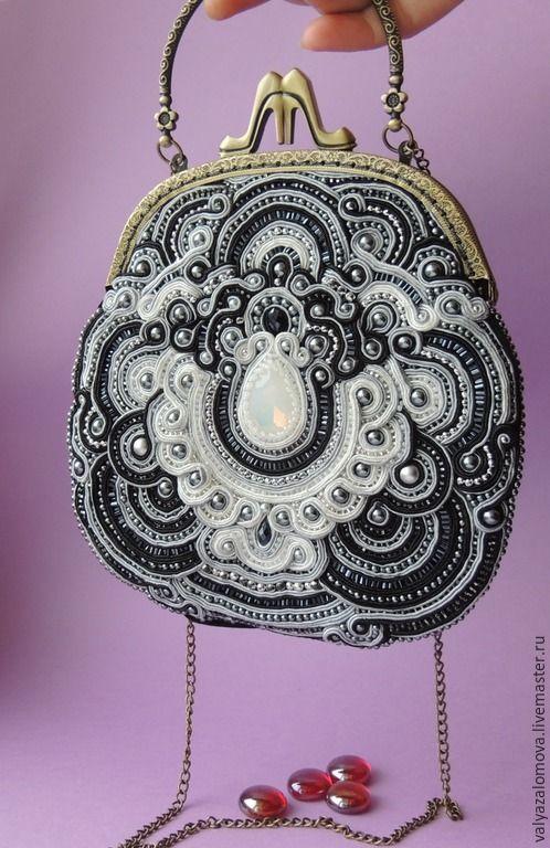 Купить Сумочка стажная черно-белая - украшения ручной работы, Украшение ручной работы