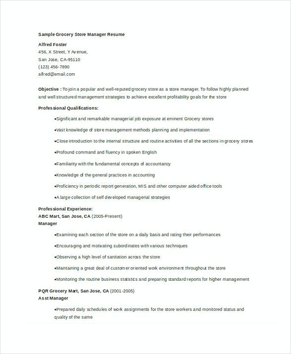 Grocery Store Manager Resume  Store Manager Resume  In The