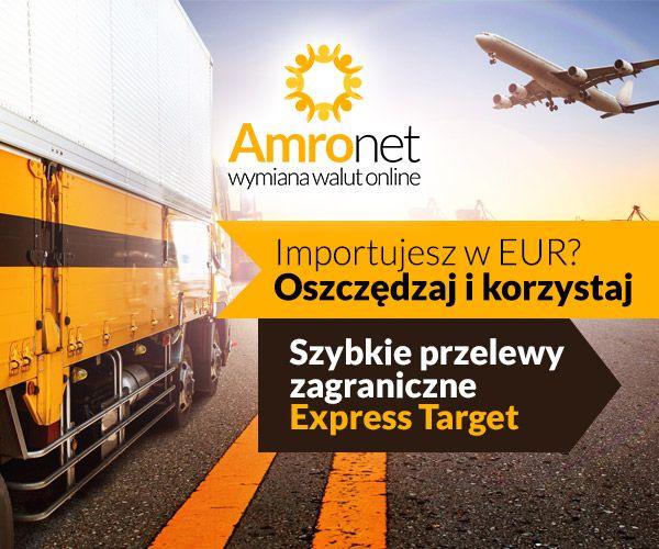 Importujesz w EUR? Szybkie przelewy zagraniczne Ekspres Target Oszczędzaj i korzystaj. W Amronet płatność można zrealizować także w systemie Target. To najlepsza, najtańsza i najszybsza opcja na rynku. Przelewy Ekspresowe zapraszamy na www.amronet.pl . https://www.konto.amronet.pl/import-eksport-w-eur-oszczedza…