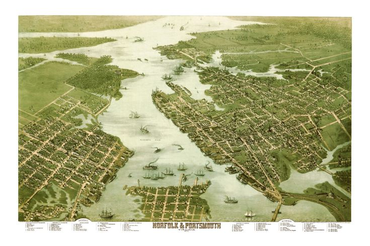 Beautifully restored map of Norfolk & Portsmouth, Virginia from 1873 - KNOWOL