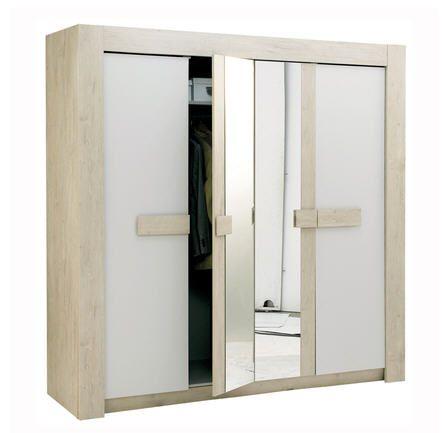 Armoire 4 portes linea ch ne pastel prix promo la maison de valerie - Armoire prix discount ...