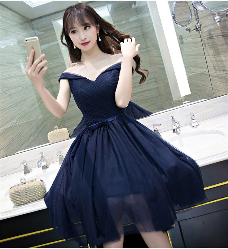 >> Click to Buy << 2017 Short Bridesmaid Dresses Dark Navy Blue Wedding Party Gowns Off the Shoulder Portrait Neck Maid of Honor Dress for Wedding #Affiliate