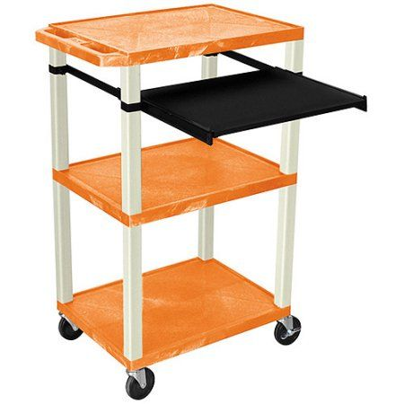 H. Wilson Tuffy 3-Shelf A/V Cart with Electric, Black Front Pullout Shelf, Orange Shelves and Putty Legs