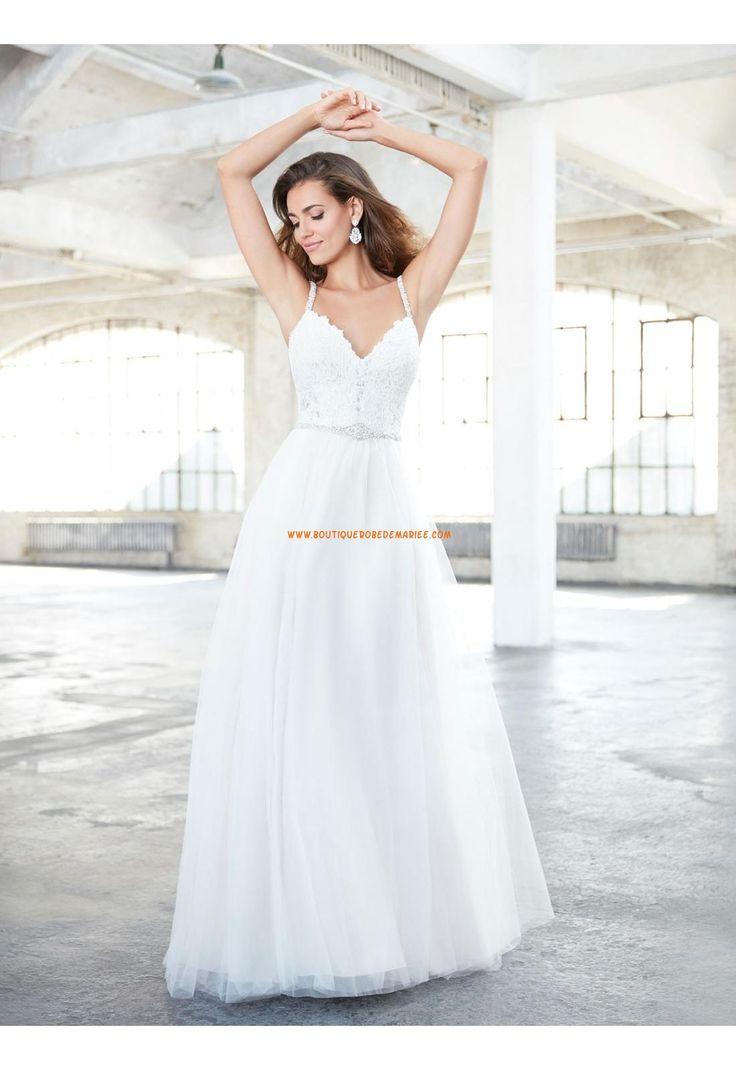 Robe de mariée tulle sans manches dos nu avec bretelle simple pas cher à la mode