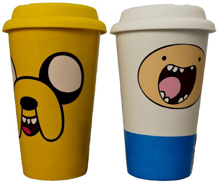 Adventure Time - Ceramic Coffee Mug with Lid Set of 2 (Jake & Finn)