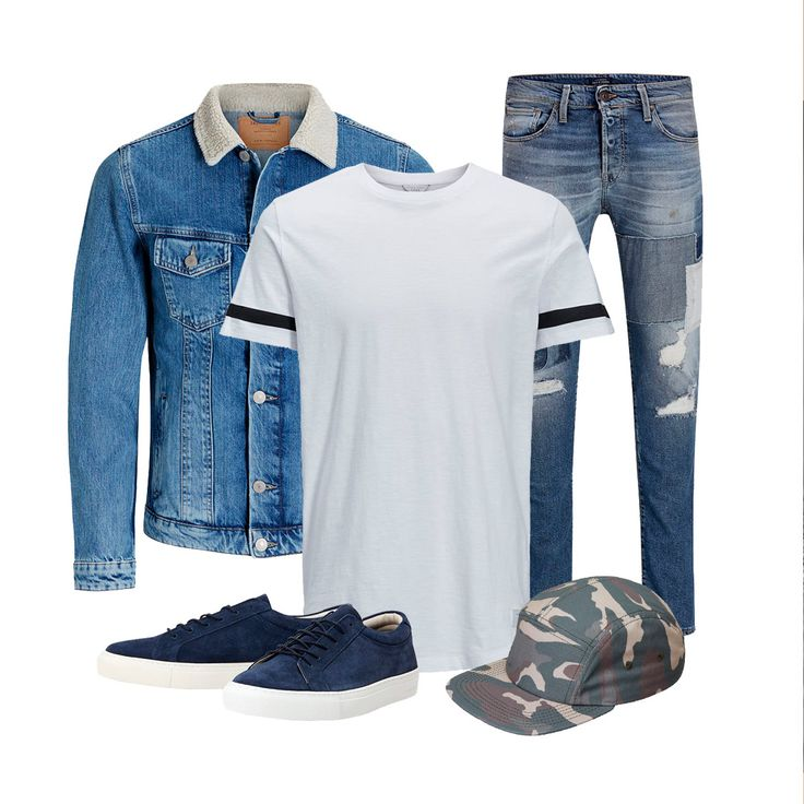 The trendy denim jacket with wool collar paired with distressed jeans, a longline white tee with black stripes onthe sleeves, a camo cap and blue sneaks | JACK & JONES